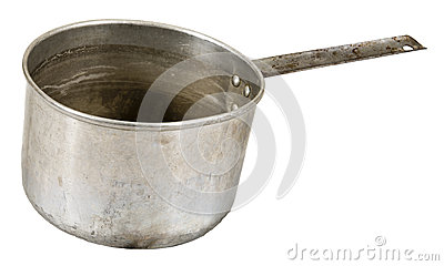 Old Metal Food Cooking Pot Isolated On White