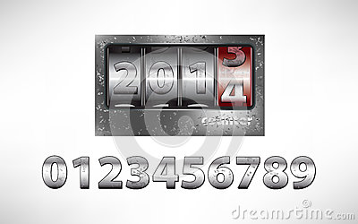 Old metal mechanical counter year 2014