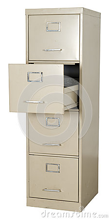 Free Old Metal Office Filing Cabinet Isolated On White Royalty Free Stock Photos - 27114358