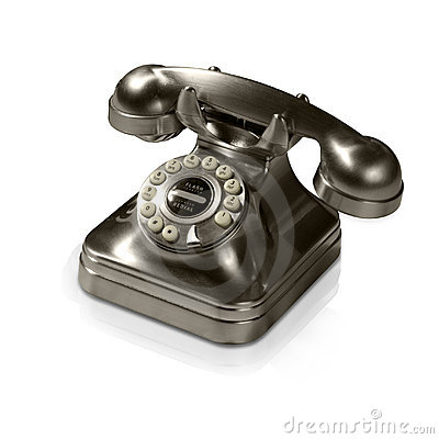 Old metal telephone (with clipping path and reflec
