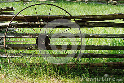 Old metal wagon wheel