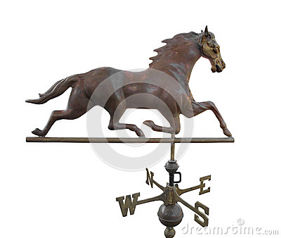 Old metal weather vane with a horse isolated.