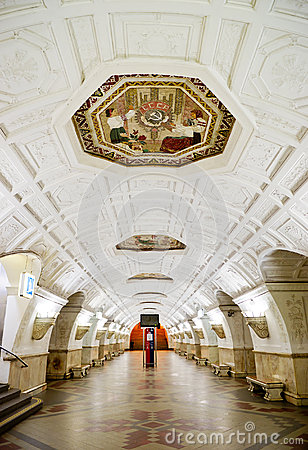 The old metro station Belorusskaya in Moscow Editorial Stock Photo