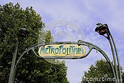 Old Metropolitan entrance in Paris Editorial Photography