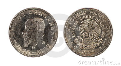 Old mexican coin (1859-1959 year)
