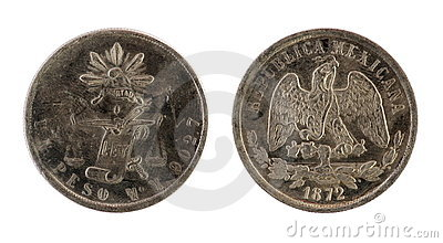 Old mexican coin. (1872 year)
