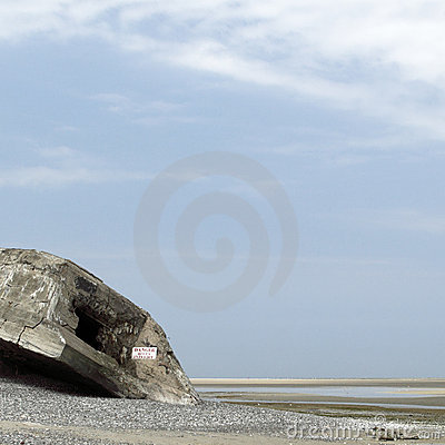 Old military bunker on beach