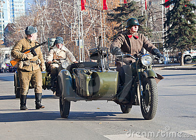 Old military motorcycle at the Parade Editorial Stock Image