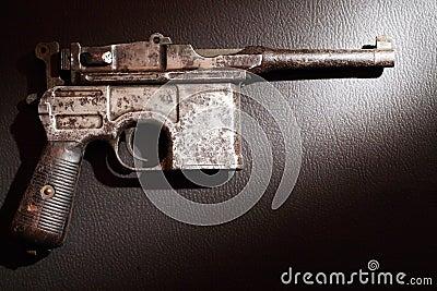 Old Pistol On Dark Stock Photo