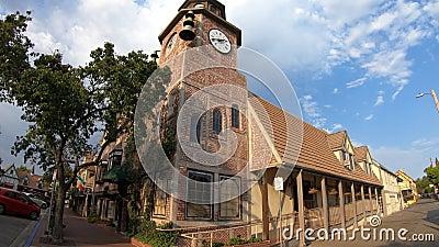 Old Mill clock tower. Solvang, California, United States - August 10, 2018: Old Mill clock tower in Solvang historic downtown, Santa Ynez Valley in Santa Barbara stock video