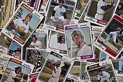 Old MLB Baseballs Cards Vintage Sports Memorabilia Editorial Photo