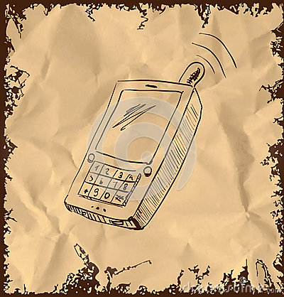 Old mobile phone on vintage background