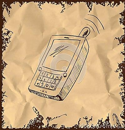 Old mobile phone on vintage background
