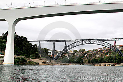 Old and modern railway bridges in Oporto, Portugal