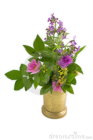 Old mortar and bouquet of herb