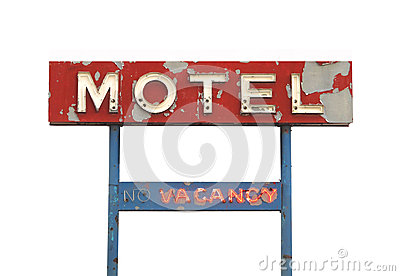 Old motel sign isolated.