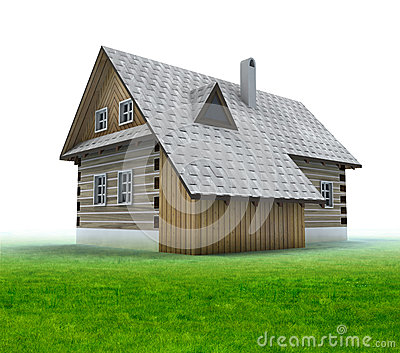 Old mountain cabin with grass on white background