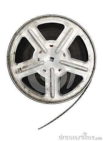 Old movie film on metal reel