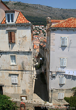Old narrow street of Dubrovnik, Croatia
