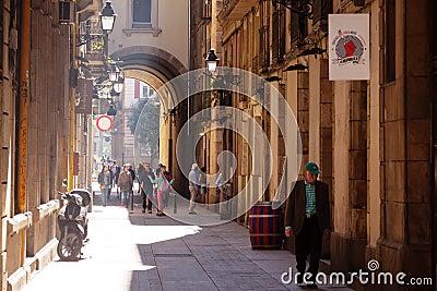 Old narrow  street of mediterranean city.  Barcelona Editorial Image