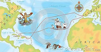 Old Navy Map Christopher Columbus Way Stock Illustration Image 40437020