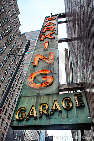Old neon Parking Garage sign