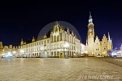 Old and new city hall in wroclaw