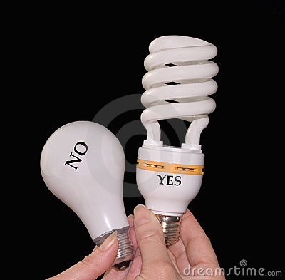 Old and new eco-friendly lightbulbs