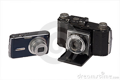 Old and new photo camera