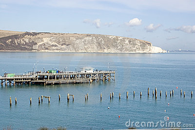 Old and New piers at Swanage, Dorset