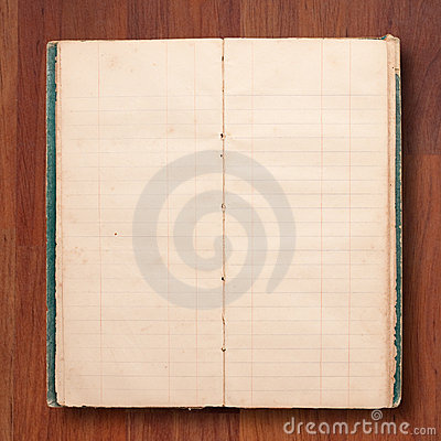 Old note book open blank page