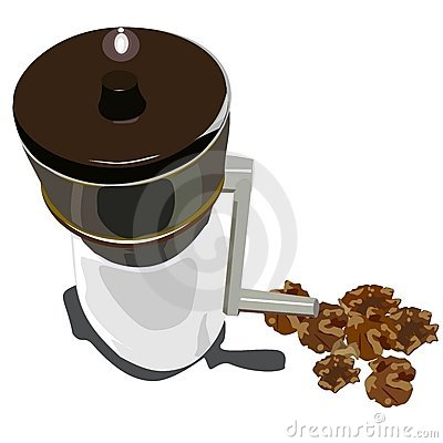 Old nut grinder and walnuts