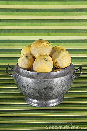 Old object : tureen with lemons , green background