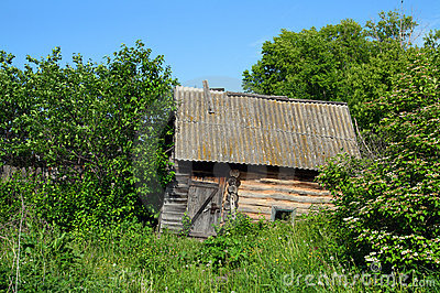 Old obsolete bath-house in lush foliage