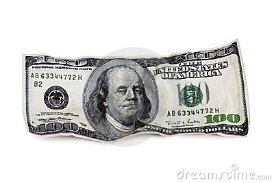 The old one hundred dollar bill isolated