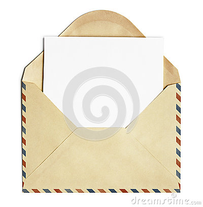 Old open air post envelope with blank paper sheet isolated