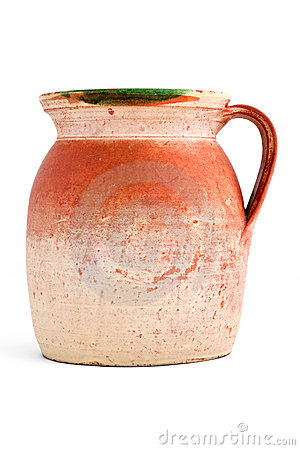 Old orange clay jar