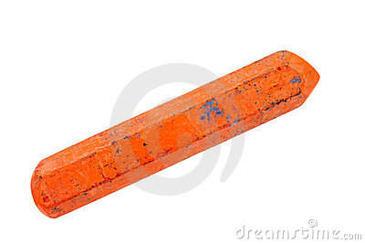 Old orange crayon
