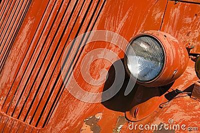 Old Orange Vinatge Fire Truck Sits Rusting in Desert Country