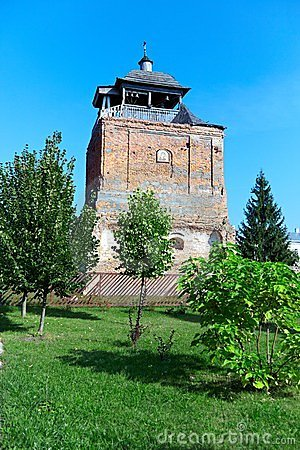 Old orthodox church tower on a summer day