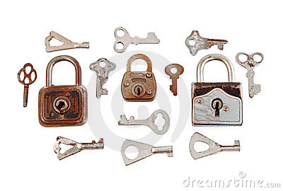 Old padlock and key