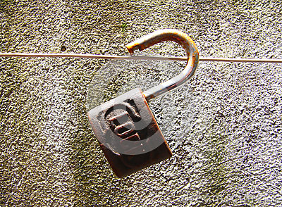 Old padlock with time