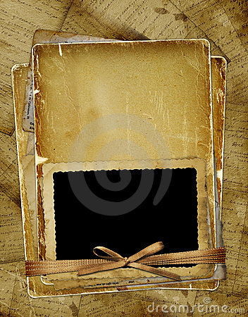 Old page with frame for photo. Ribbons and bow.