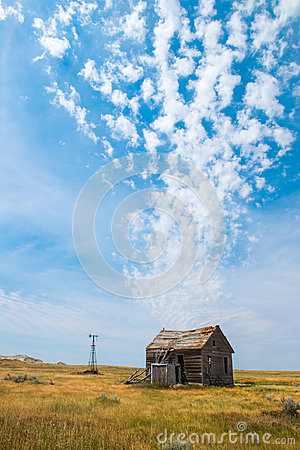Free Old Pairie Cabin, Farm, Clouds Stock Images - 96997564