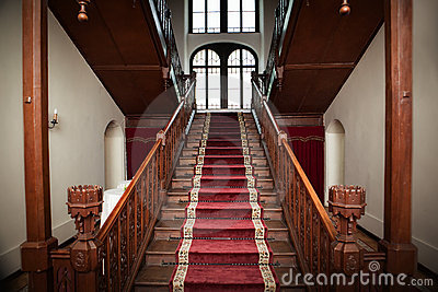 Old palace interior - wooden stairs