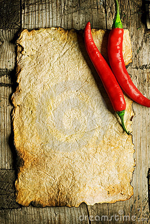 Free Old Paper And Chili Peppers Royalty Free Stock Photography - 16123557