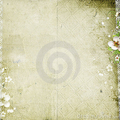 Free Old Paper Background With Apple Tree Flowers Stock Image - 14750571
