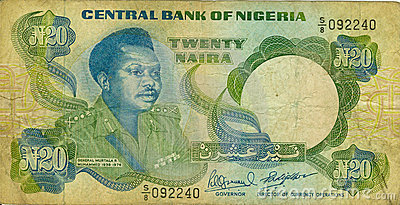 Old paper banknote money Niger