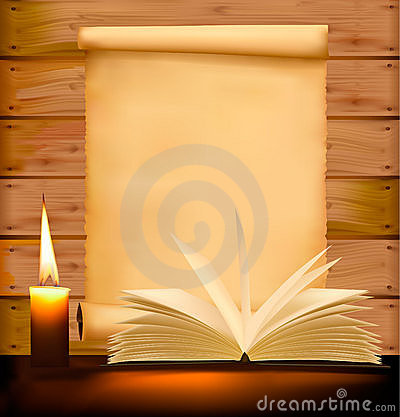 Old paper, candle and open book on wood background