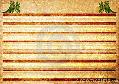 Old paper grunge music sheet texture background.